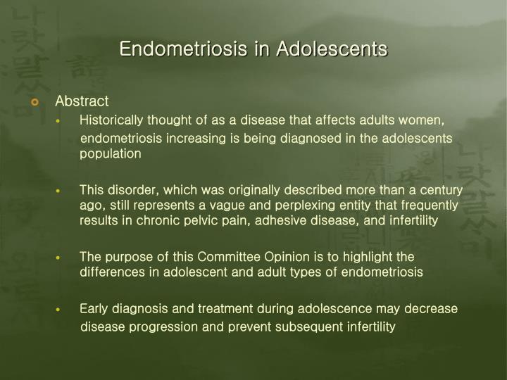 Endometriosis in adolescents2