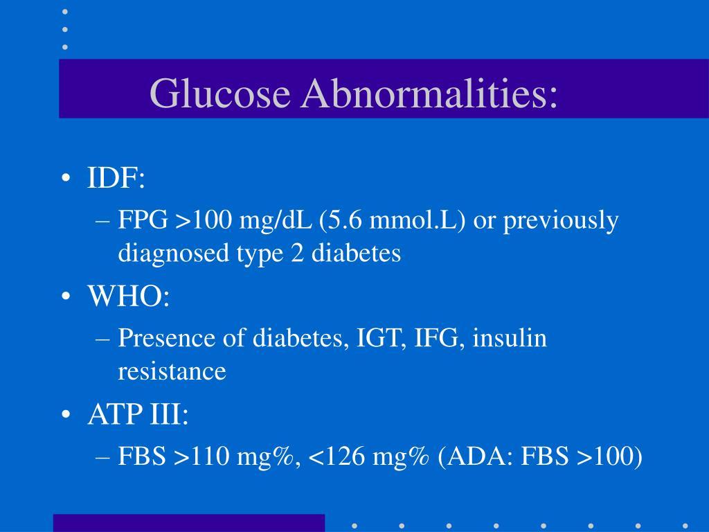 Glucose Abnormalities: