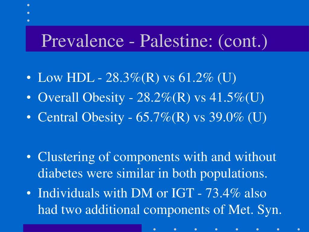 Prevalence - Palestine: (cont.)