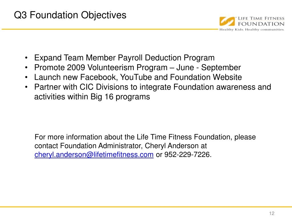 Q3 Foundation Objectives