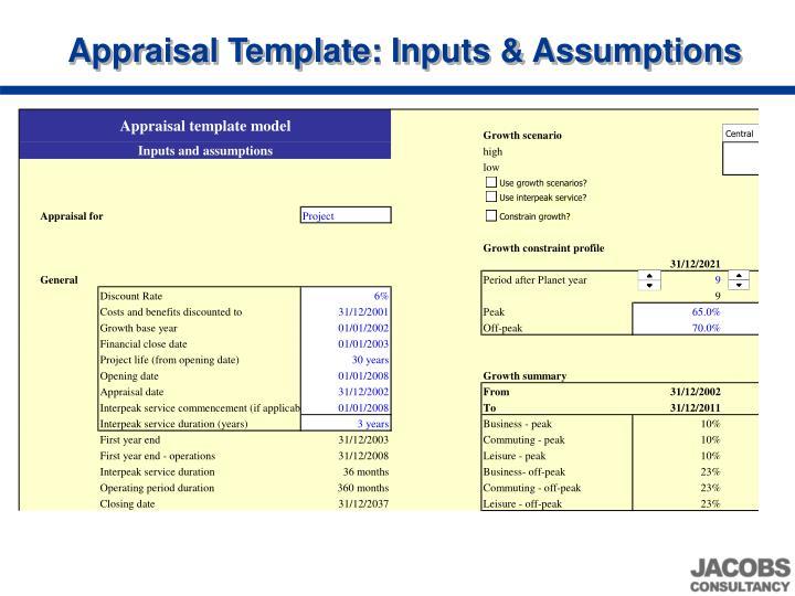 Appraisal Template: Inputs & Assumptions
