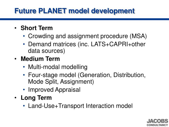 Future PLANET model development