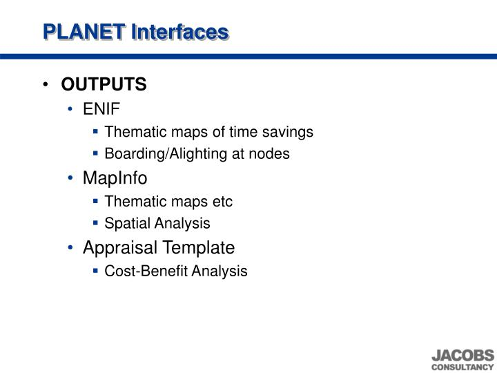 PLANET Interfaces