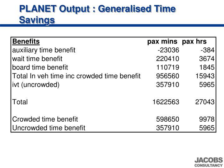 PLANET Output : Generalised Time Savings