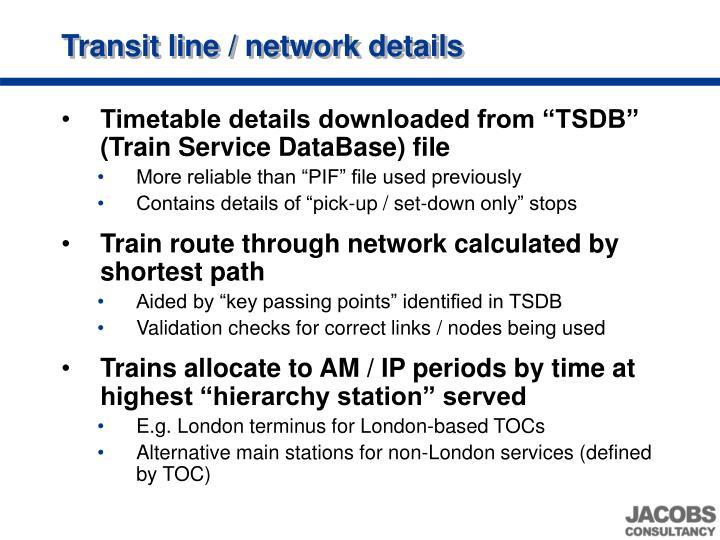 Transit line / network details