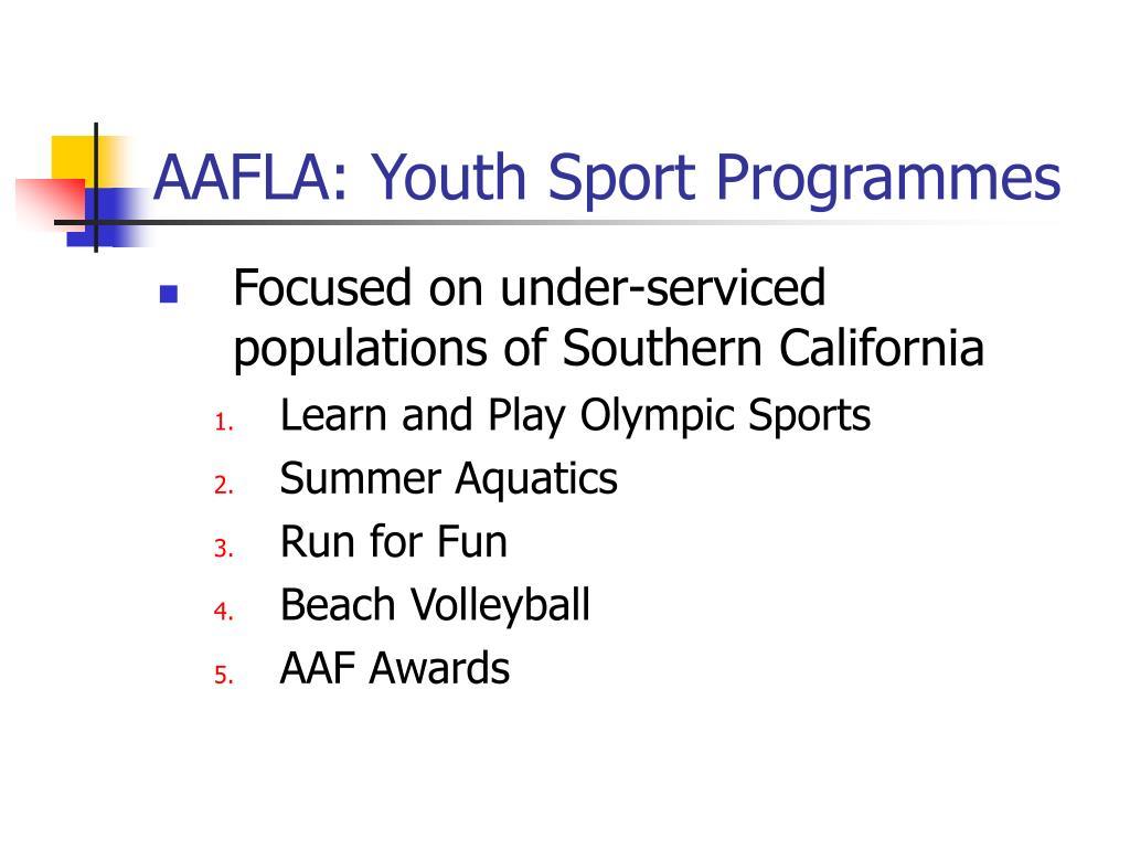 AAFLA: Youth Sport Programmes