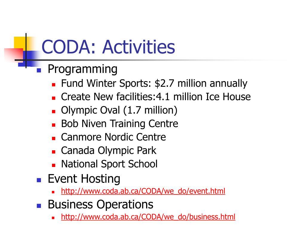 CODA: Activities