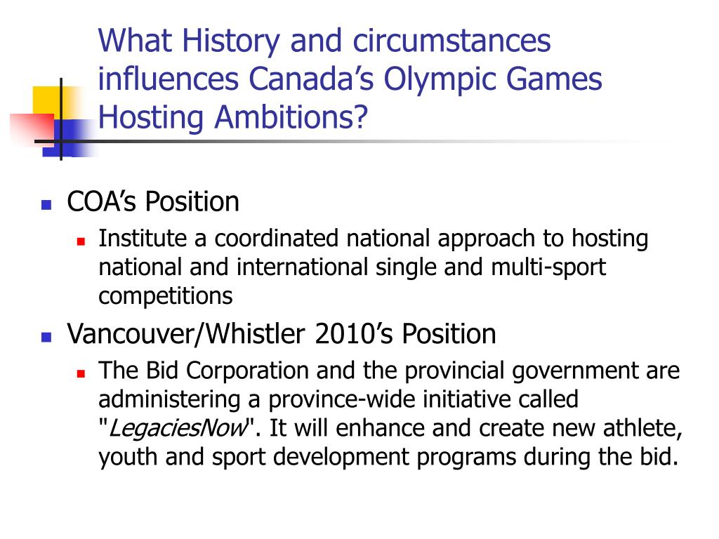 What History and circumstances influences Canada's Olympic Games Hosting Ambitions?