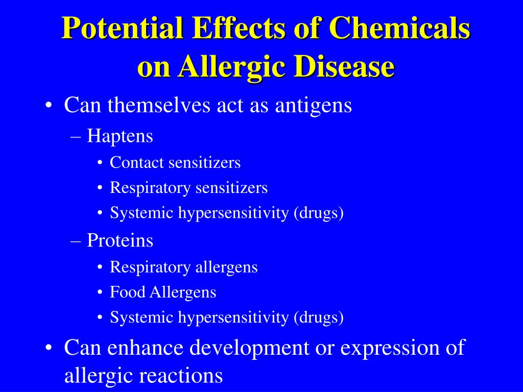 Potential Effects of Chemicals on Allergic Disease