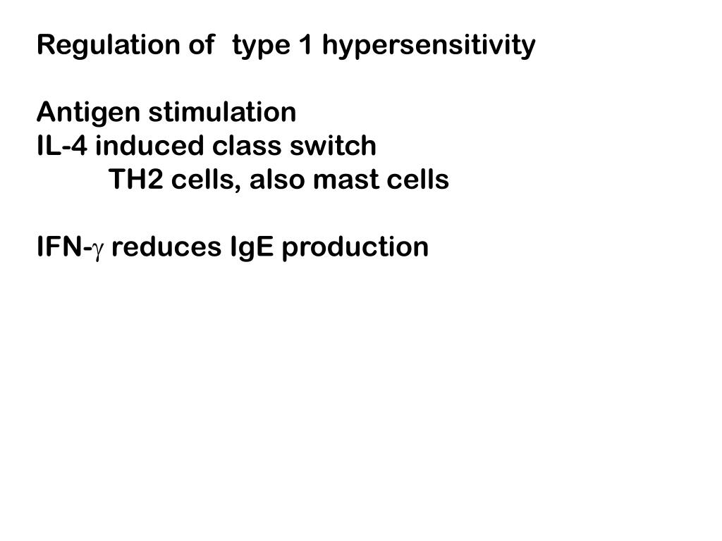 Regulation of  type 1 hypersensitivity