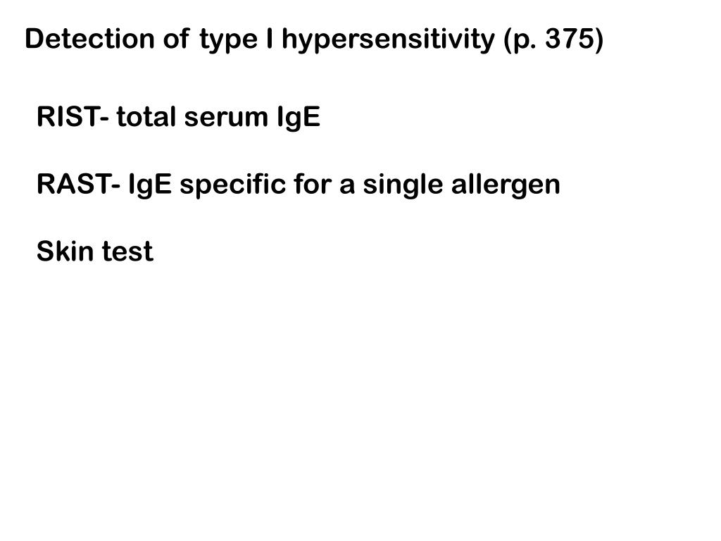 Detection of type I hypersensitivity (p. 375)