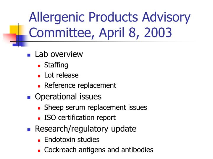 Allergenic products advisory committee april 8 2003