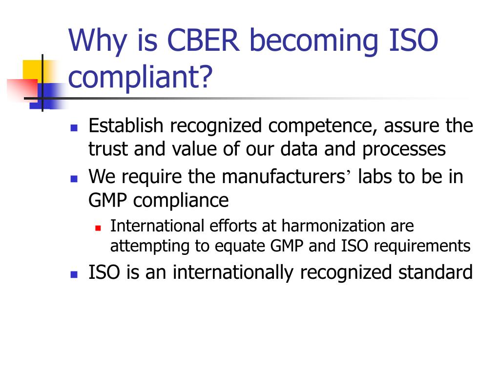 Why is CBER becoming ISO compliant?