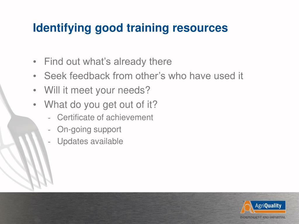 Identifying good training resources