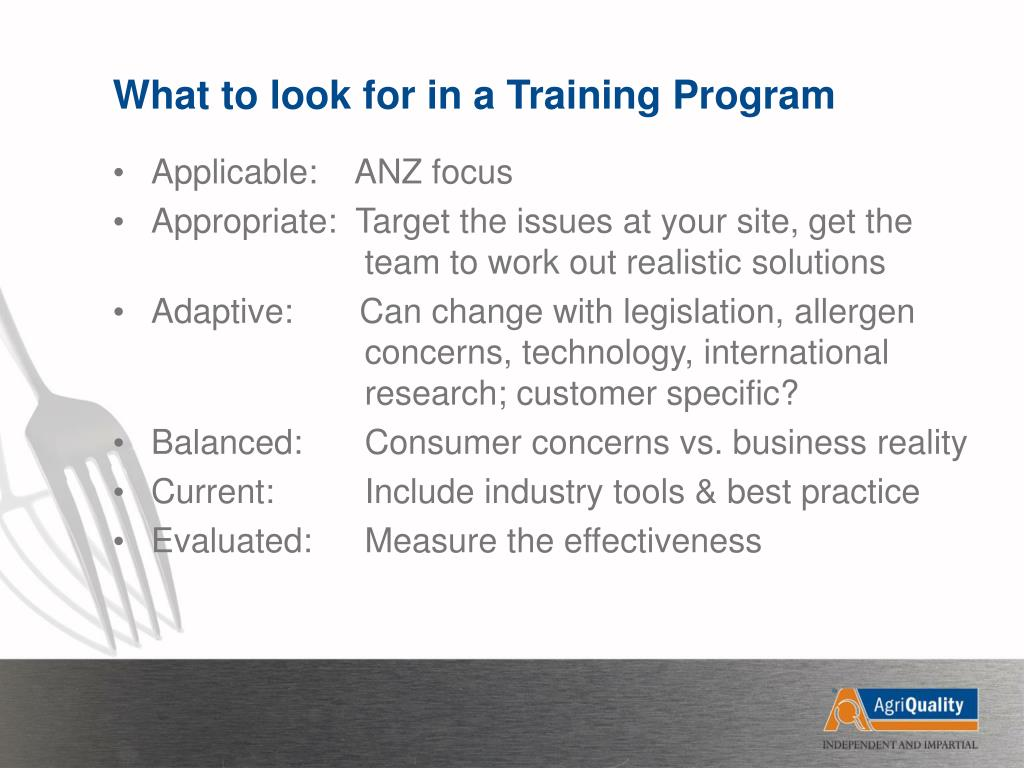 What to look for in a Training Program