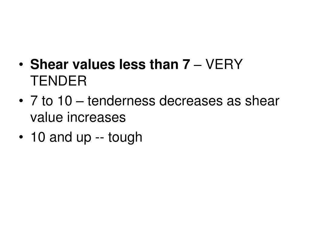 Shear values less than 7