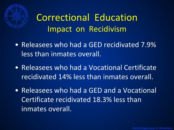 Correctional education impact on recidivism