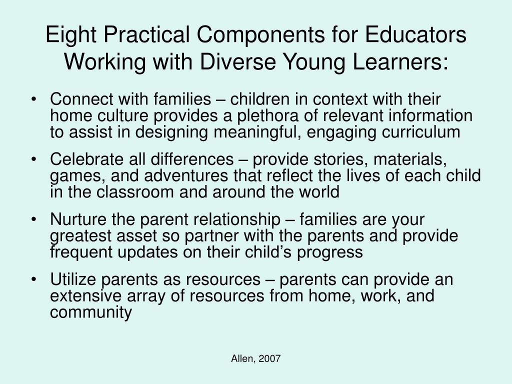 Eight Practical Components for Educators Working with Diverse Young Learners: