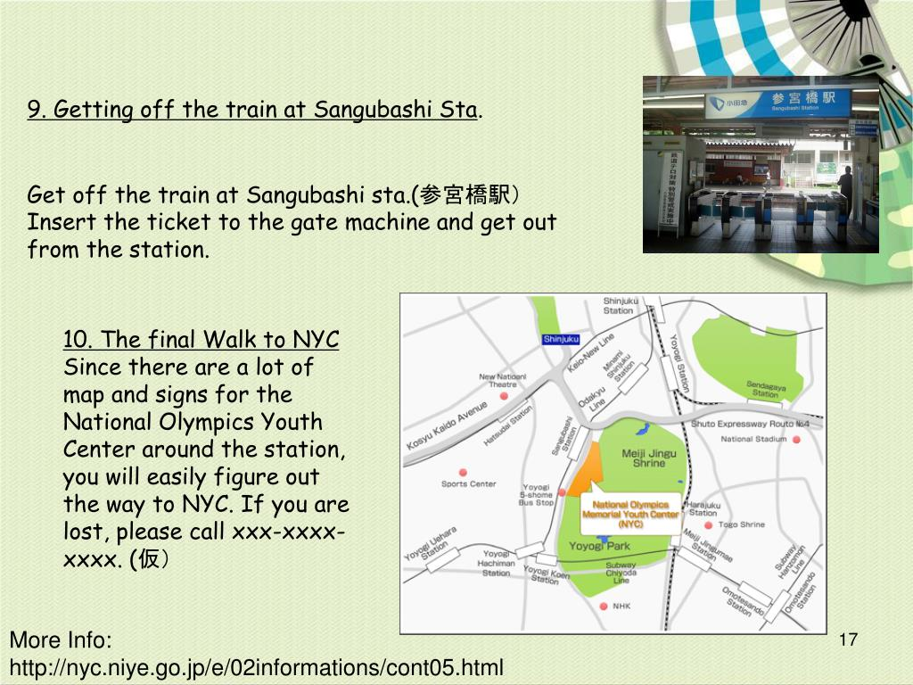 9. Getting off the train at Sangubashi Sta