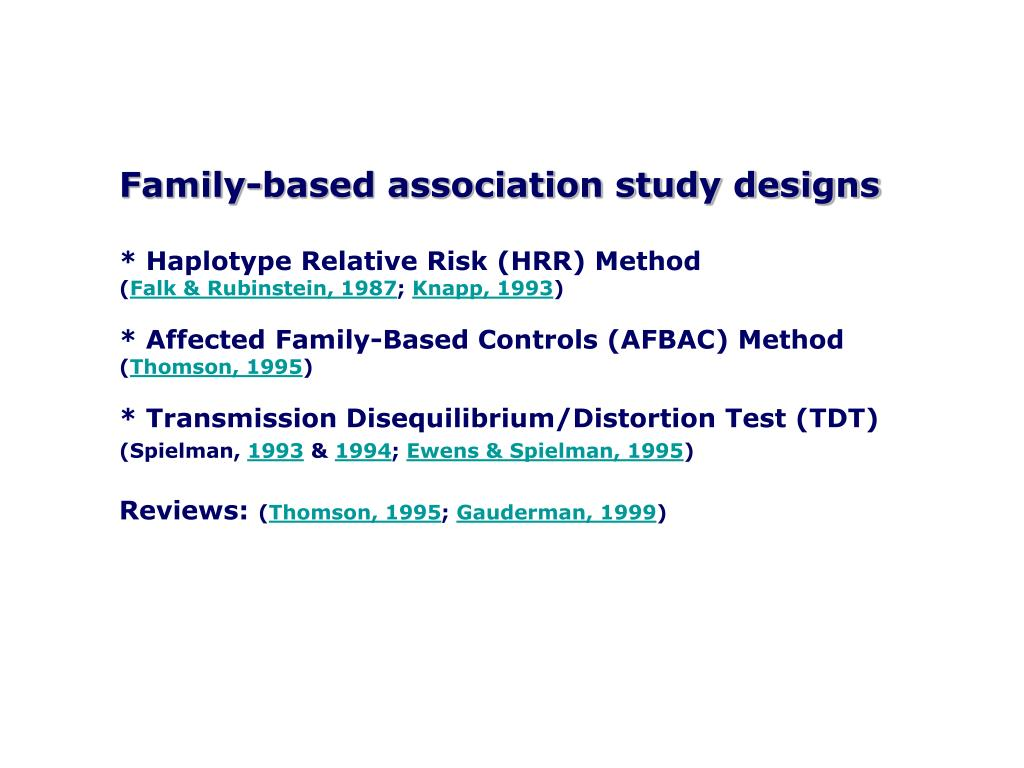 Family-based association study designs
