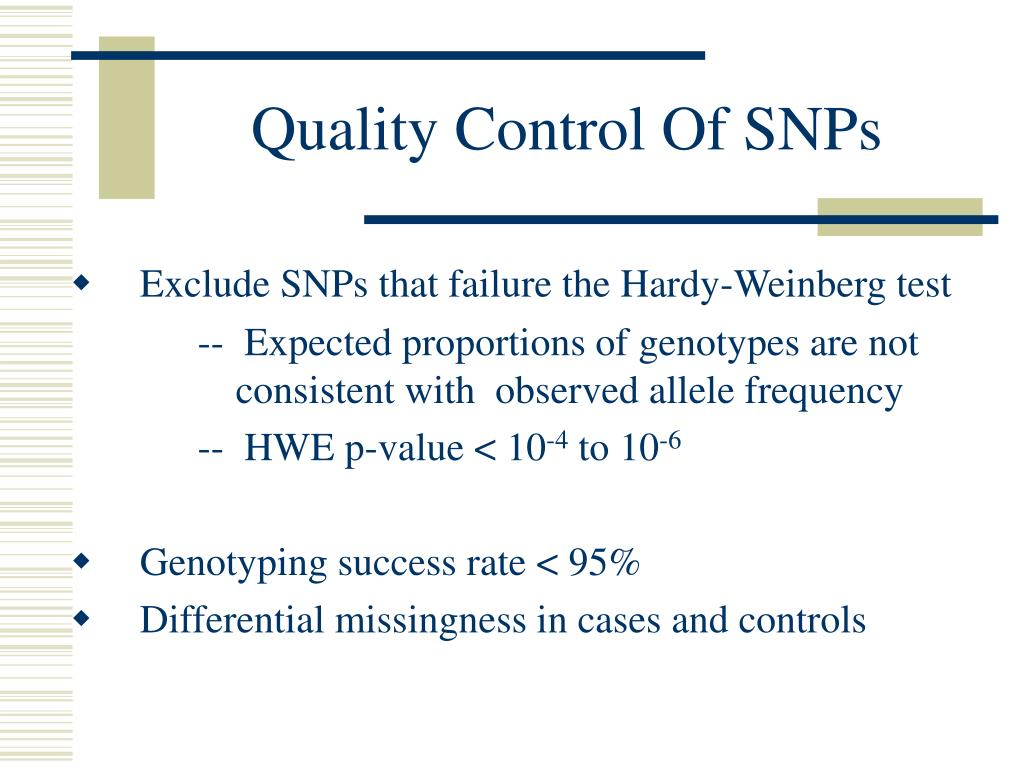 Quality Control Of SNPs
