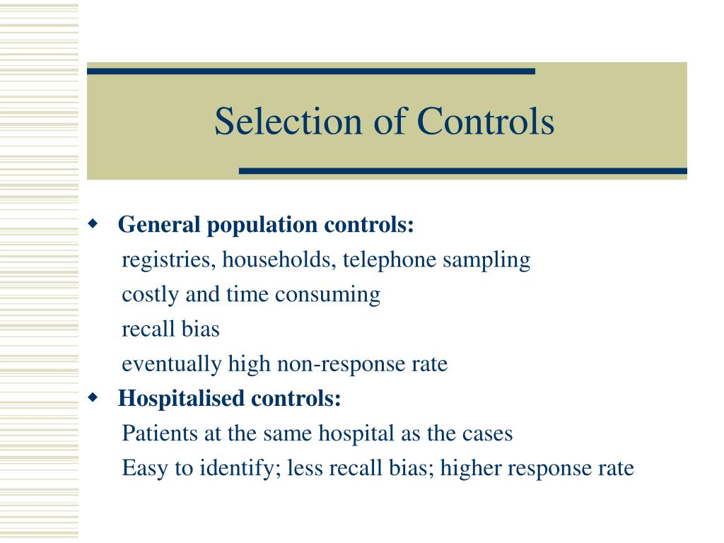 Selection of Controls