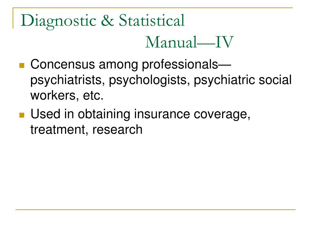 diagnostic statistical manual 4th edition