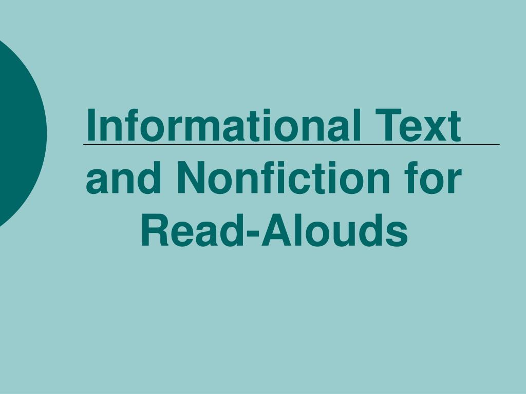 Informational Text and Nonfiction for Read-Alouds