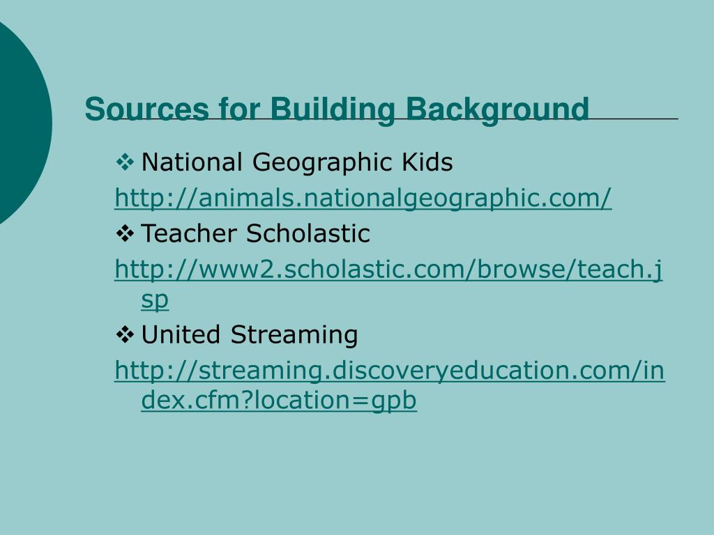 Sources for Building Background