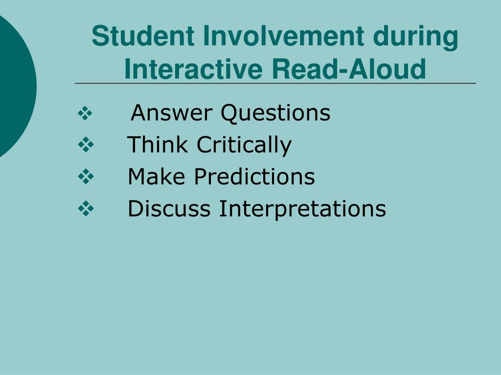 Student Involvement during Interactive Read-Aloud