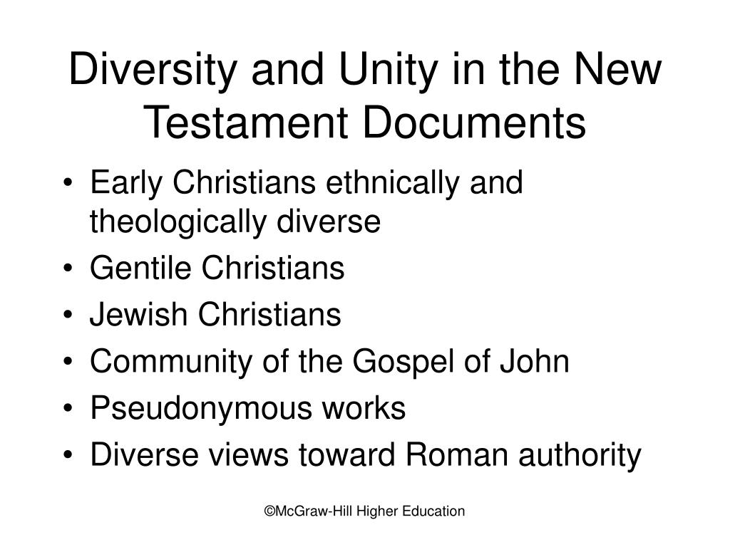 Diversity and Unity in the New Testament Documents