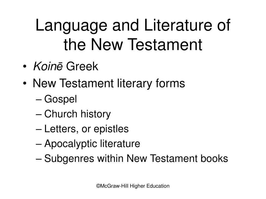 Language and Literature of the New Testament
