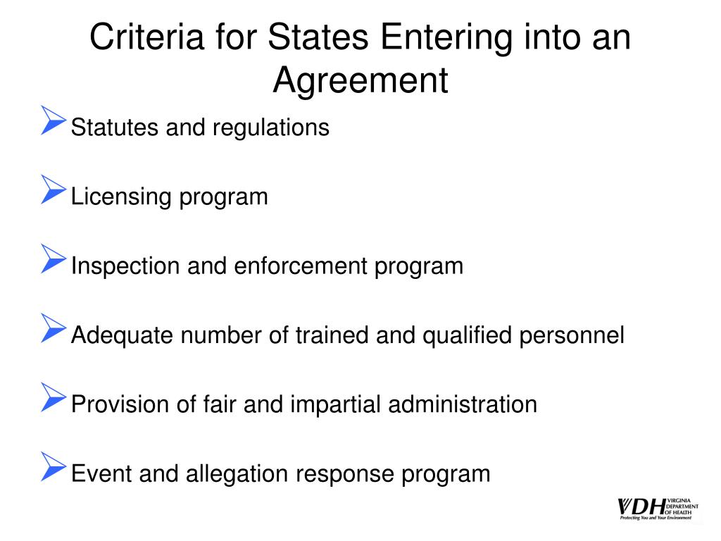Criteria for States Entering into an Agreement