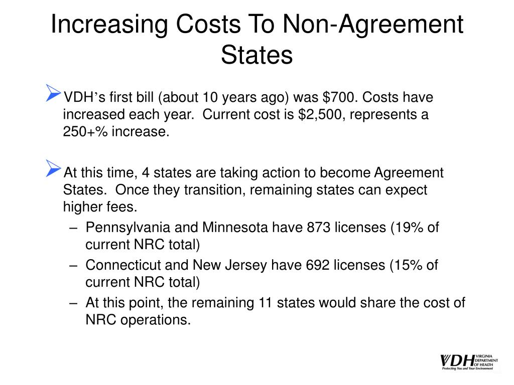Increasing Costs To Non-Agreement States