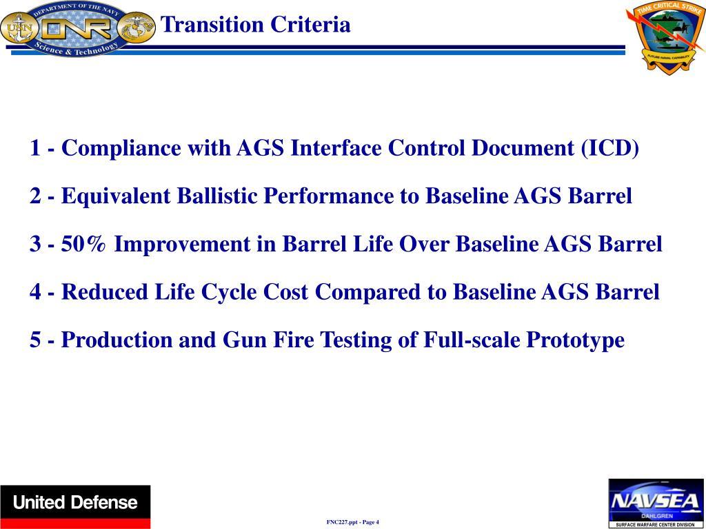 Transition Criteria