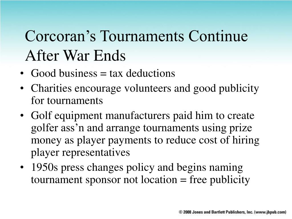 Corcoran's Tournaments Continue After War Ends