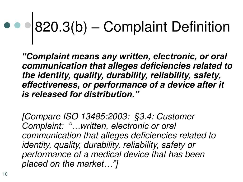 820.3(b) – Complaint Definition
