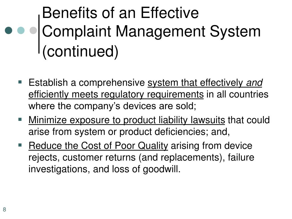 Benefits of an Effective Complaint Management System (continued)