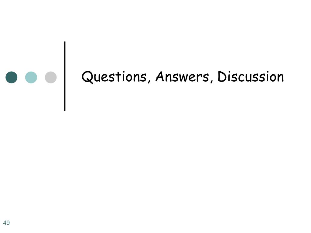 Questions, Answers, Discussion