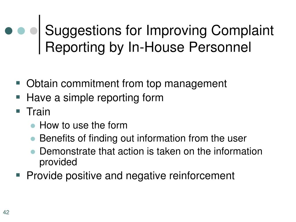 Suggestions for Improving Complaint Reporting by In-House Personnel