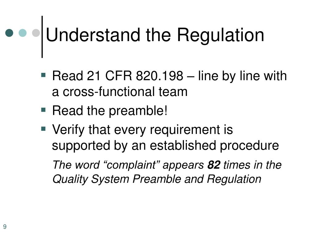 Understand the Regulation