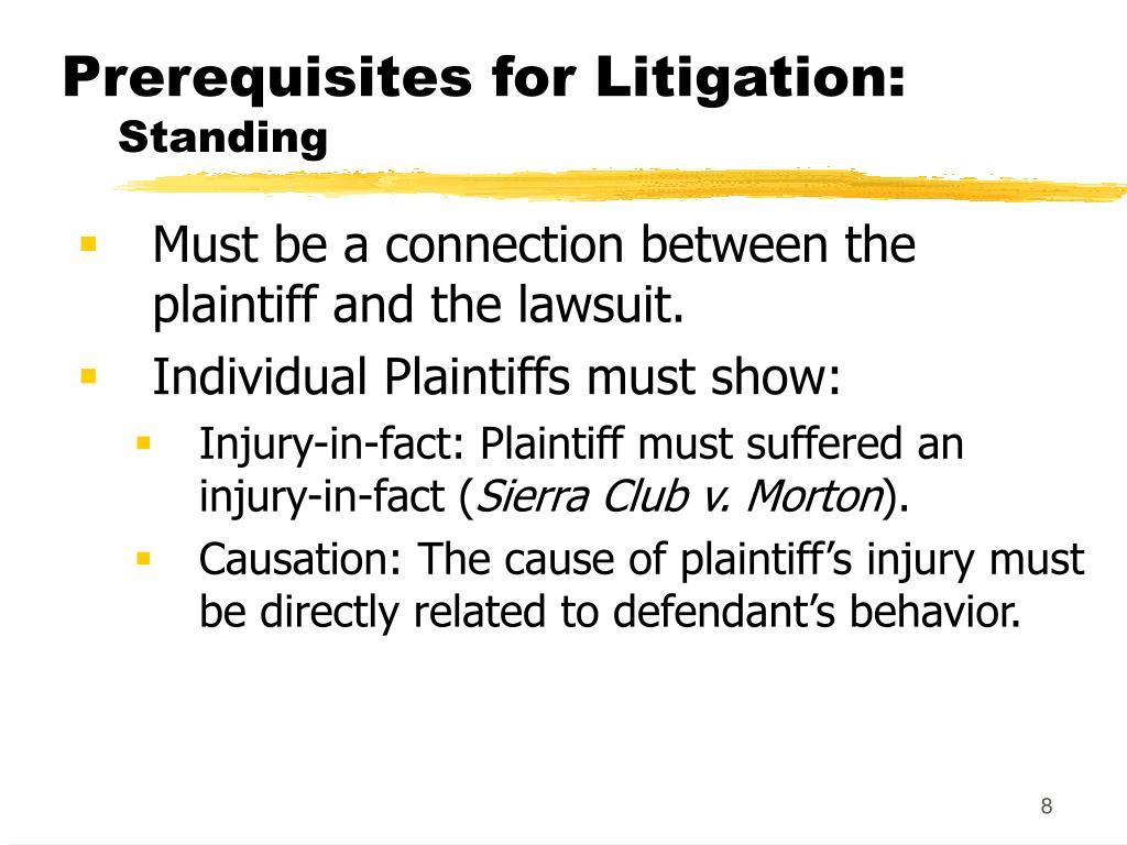 Prerequisites for Litigation: