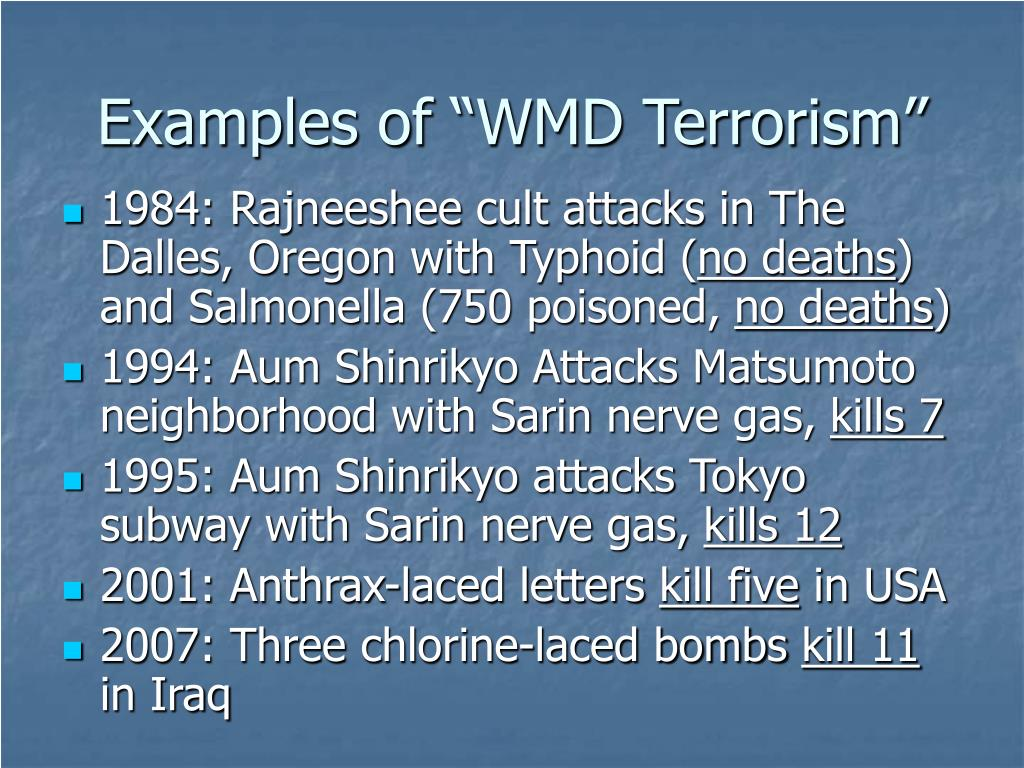"""Examples of """"WMD Terrorism"""""""