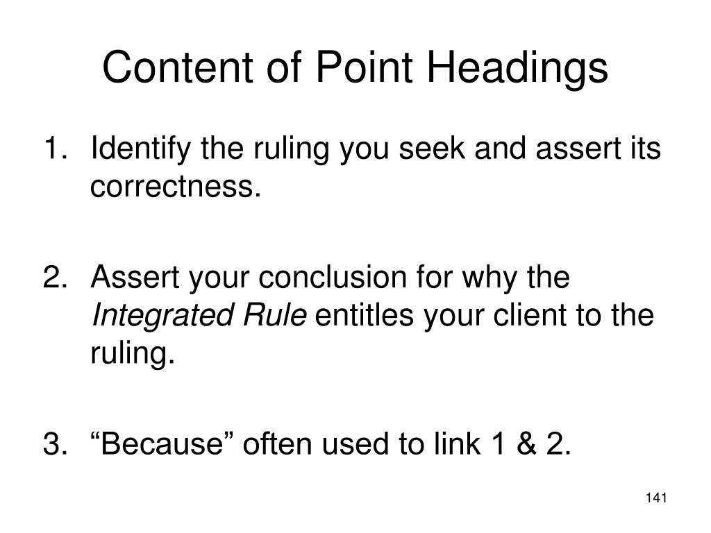 Content of Point Headings