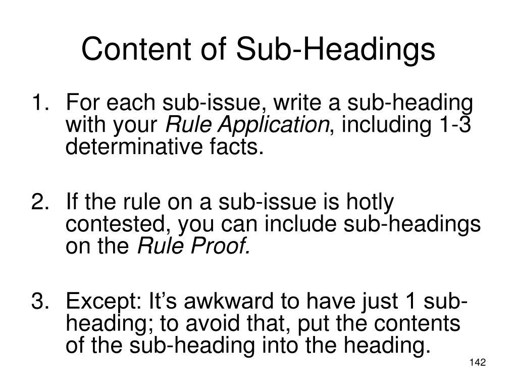 Content of Sub-Headings