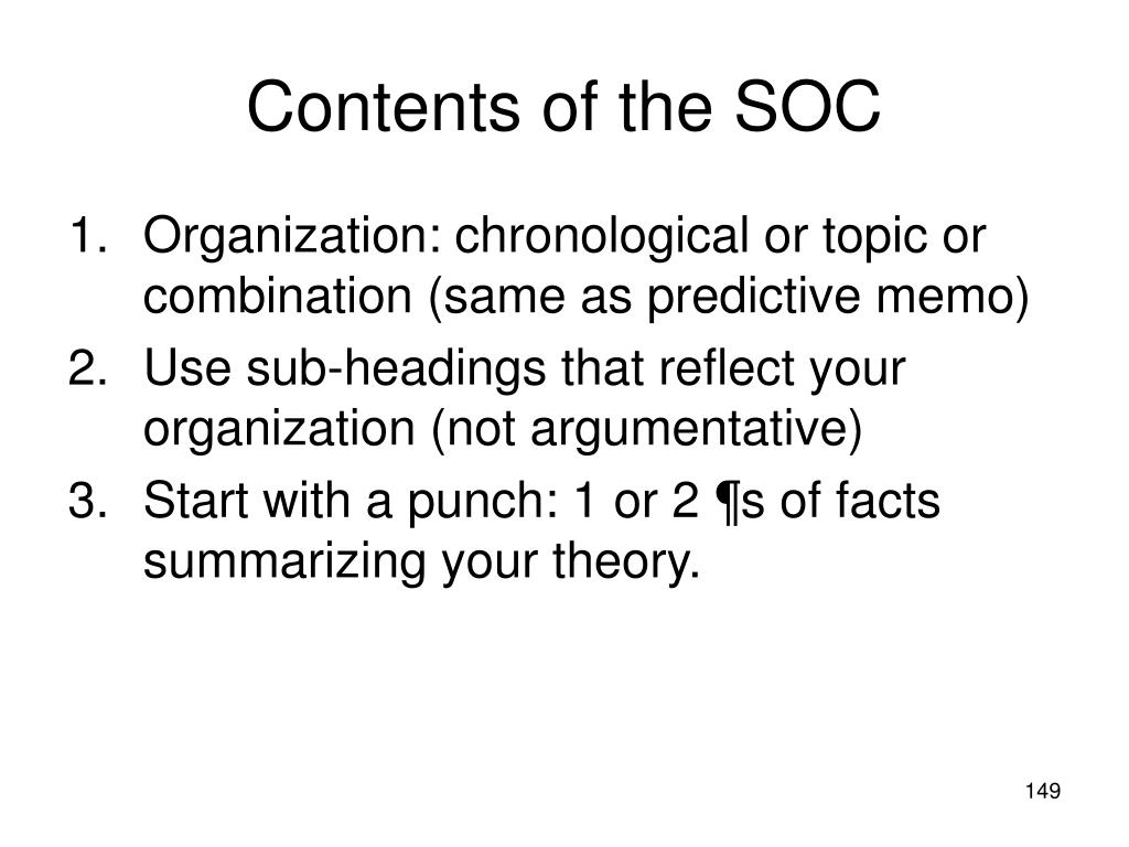 Contents of the SOC