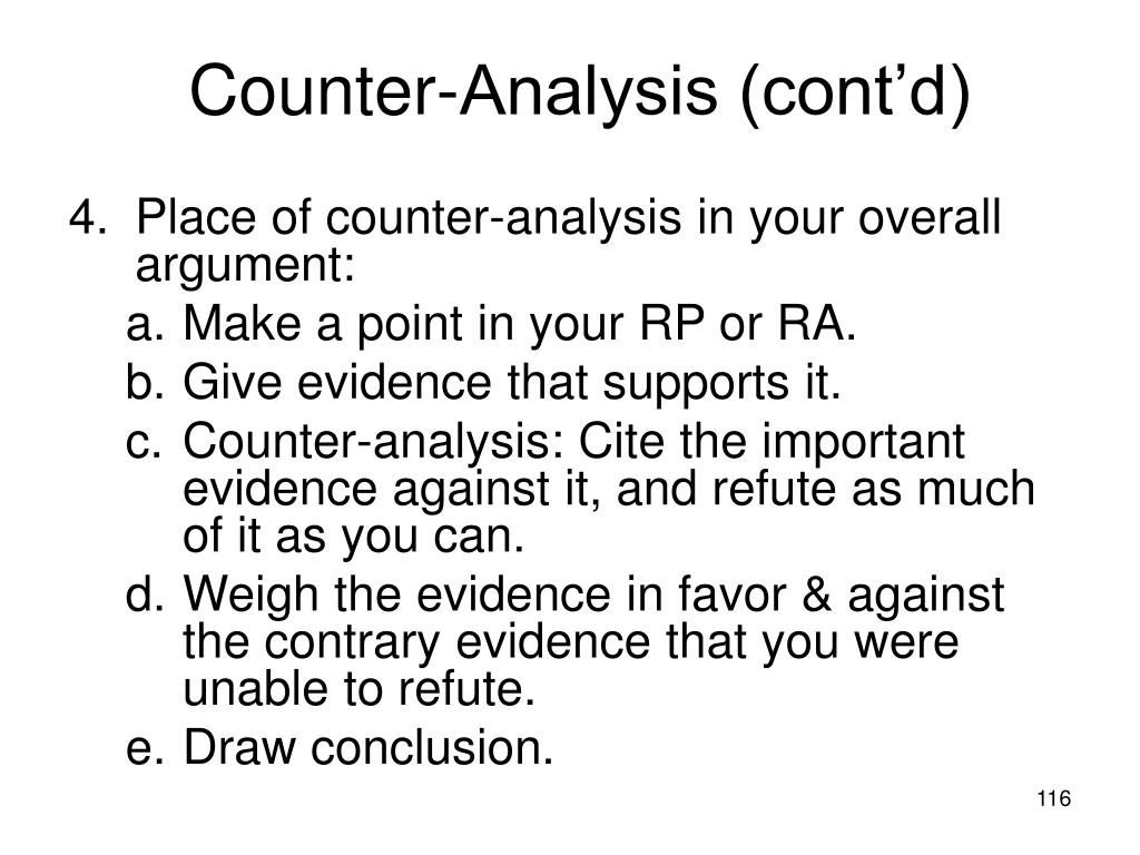 Counter-Analysis (cont'd)