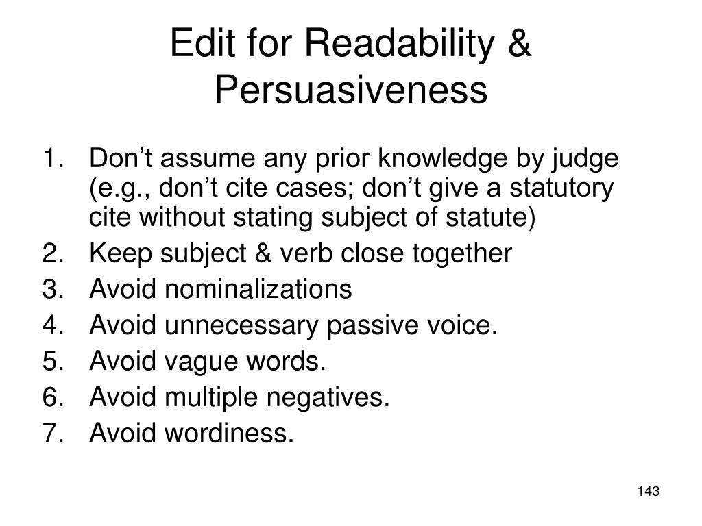Edit for Readability & Persuasiveness