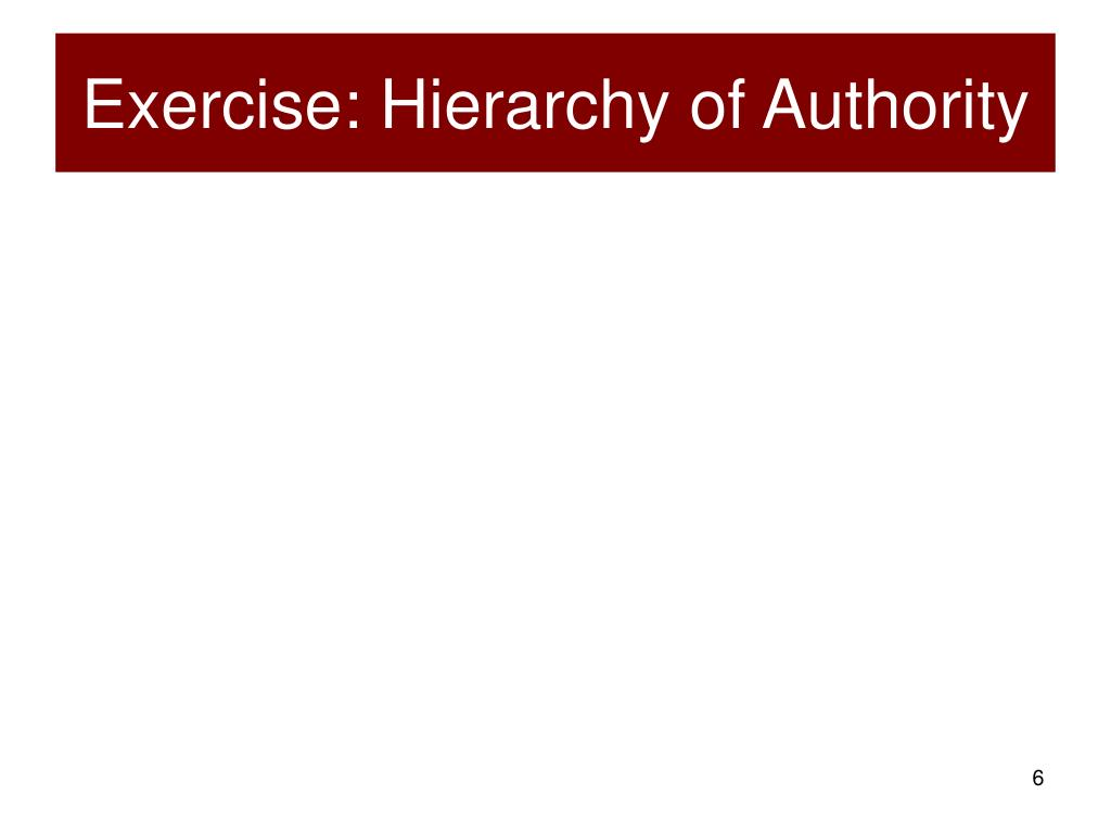Exercise: Hierarchy of Authority