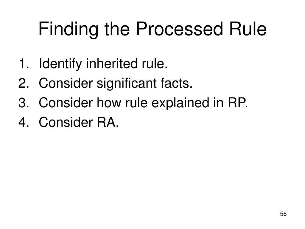 Finding the Processed Rule